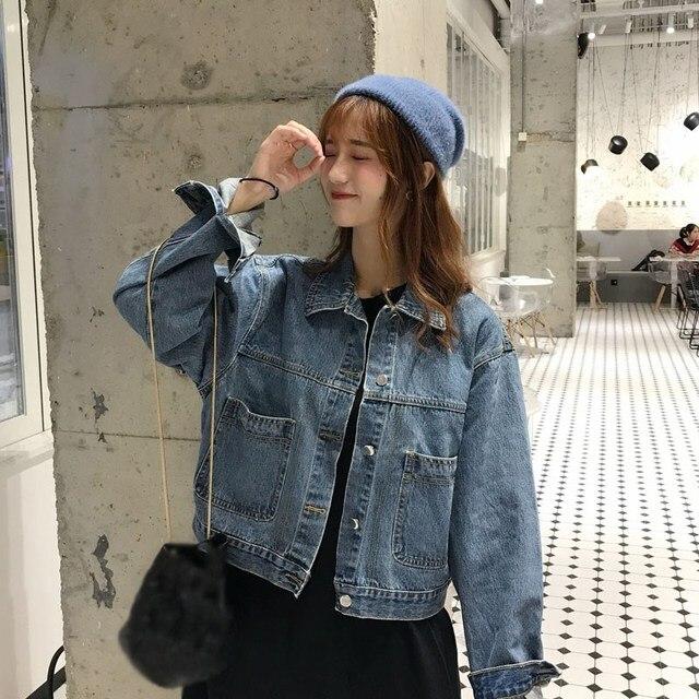 New Short Blue And Black Denim Coat Casual Spring Summer Women Harajuku Denim Loose Jacket