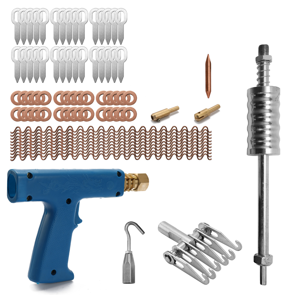77pcs Dent Repair Puller Kit Car Tools Hand Body Spot Guns Mini Welding Machine Auto System Spotter Fix Clamp Hammer Removal