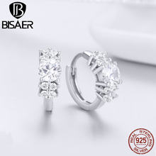 BISAER Hoop Earrings 925 Sterling Silver Sparkling Star Clear CZ Delicate Hoop Earrings 2018 Mode Argent Bijoux Femme GXE485(China)