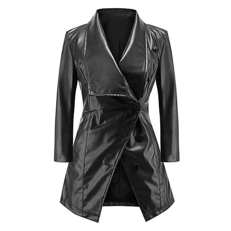 2018 European Women Black Long Jackets PU Leather Ladies Coat Autumn Spring Waterfall Collar Oblique Button Slim Fit Coat