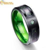Carbon Fiber Green Zircon Men Rings 100% Tungsten Carbide Wedding Bands Gift Anillos para hombres Black Dragon
