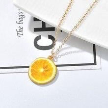 8fa19894415f Limón fruta vegetal colgante collares para las mujeres de Color oro verano  Gril amigo gargantilla collar regalo lindo colgante d.