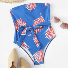 2019 Bikini Sexy Women Strapless One-piece Swimsuit High waist Tropical Leaves Print Padded Beach Swimwear Bathing Suit swimsuit tropical print high leg backless swimsuit