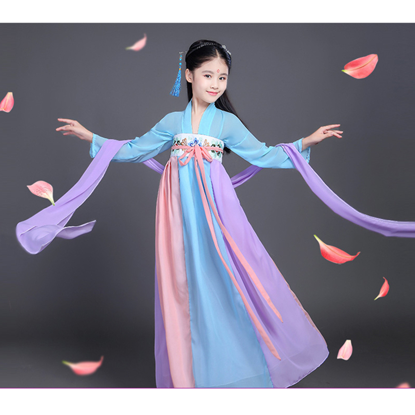 Chinese Traditional Dance Costumes Woman Qing Dynasty Performance Dress Ancient Fairy Hanfu for Girl New Year Print Tangsuit