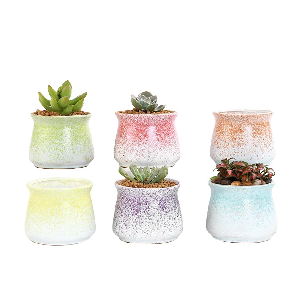 6 pièces mode délicat créatif élégant moderne Mini Vase en céramique plantes succulentes Pots succulents planteur jardinières en céramique