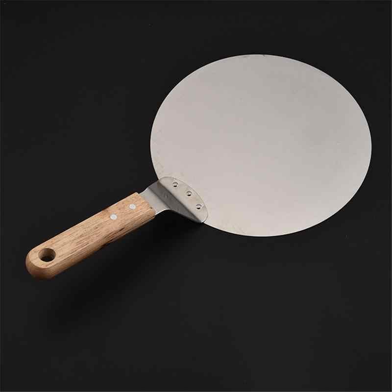 10 дюймов Нержавеющаясталь пиццы пил лопатой с деревянной ручкой торт лопатой выпечки инструменты сыр резак атлет инструмент пицца лопатой