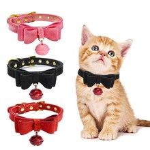 Бант кошка воротник из искусственной кожи ожерелье с колокольчиками Регулируемая маленькая собака щенок котенок ошейники, аксессуары для животных