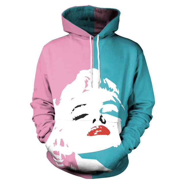 MMGG New 3D blue pink Monroe head print jumper hoodies for Christmas Sweatshirts