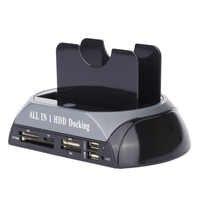 2.5 pouces 3.5 Sata/Ide Hdd boîtier 2-Dock double baie disque dur Station d'accueil e-sata lecteur de carte Hub Usb boîtier Hdd boîtier