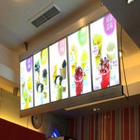 (4 Graphics/column) Single Sided Lighted Menu Boards,Backlit Sign Menu Display for Hotel,Restaurant,Cafe Store 4 Row Leds