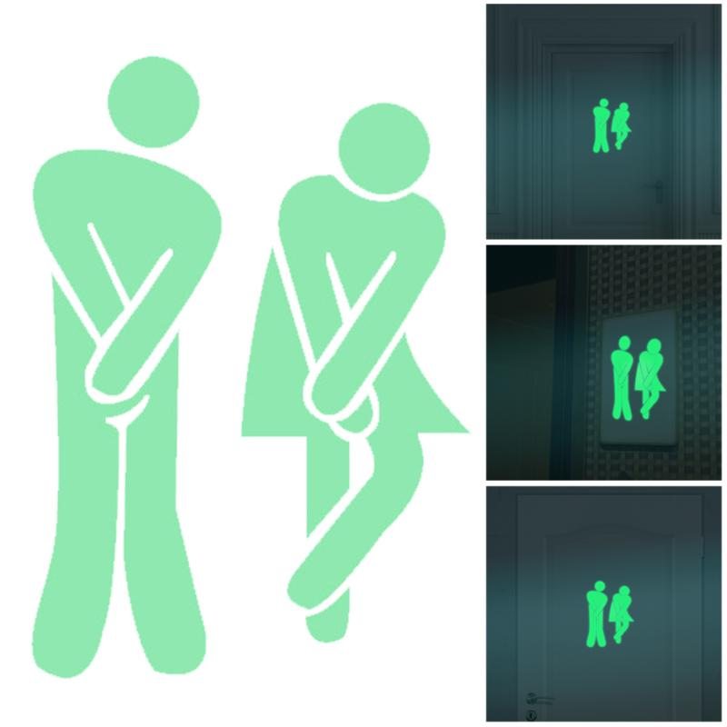 Creative WC Sticker Waterproof Luminous Toilet Stickers Decor Post Pictures Door Sign for Bathroom Decoration Wall Sticker