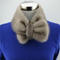 Real mink fur Bow tie women collar ladies neck ring fashion new design solid white black color scarf T11
