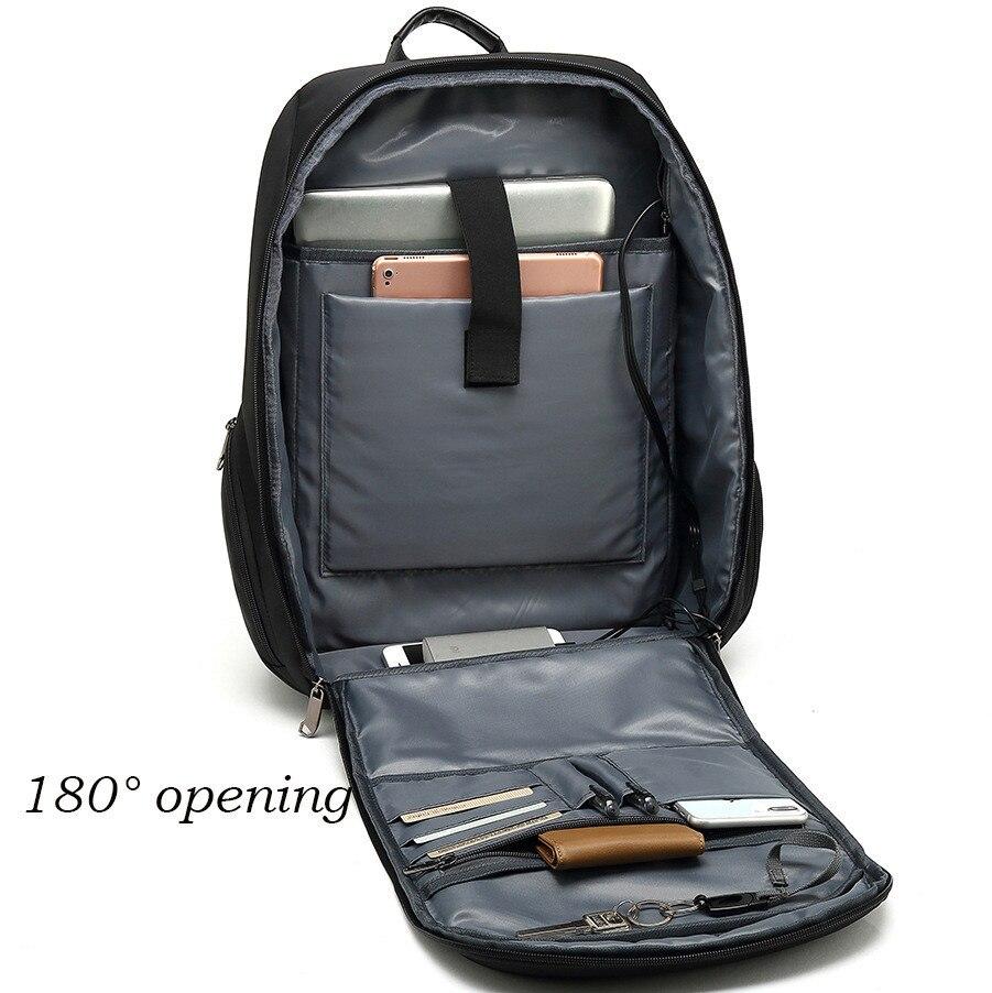 VM Модный деловой мужской 15,6 рюкзак для ноутбука для мужчин, студенток, женщин, школьный рюкзак с двумя плечиками, usb зарядка, рюкзаки для путе... - 5