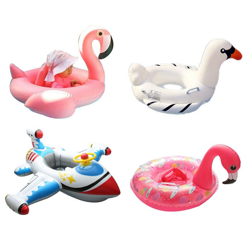 Swan Baby Float Baby Swimming Ring Seat Float Inflatable Flamingo Pool Float Baby Swimming Pool Toy Kids Swan