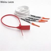 """Weiou OW signé conjointement coton plat imprimé """"lacets"""" avec des conseils de silicium soie impression chaussures lacets blanc noir pour baskets cadeau"""