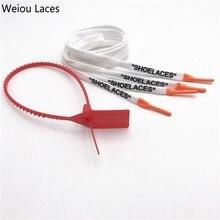"""Weiou OW подписано совместно хлопок плоские печатные """"шнурки"""" с силиконовыми наконечниками Шелкография шнурки для обуви белый черный для кроссовок подарок"""