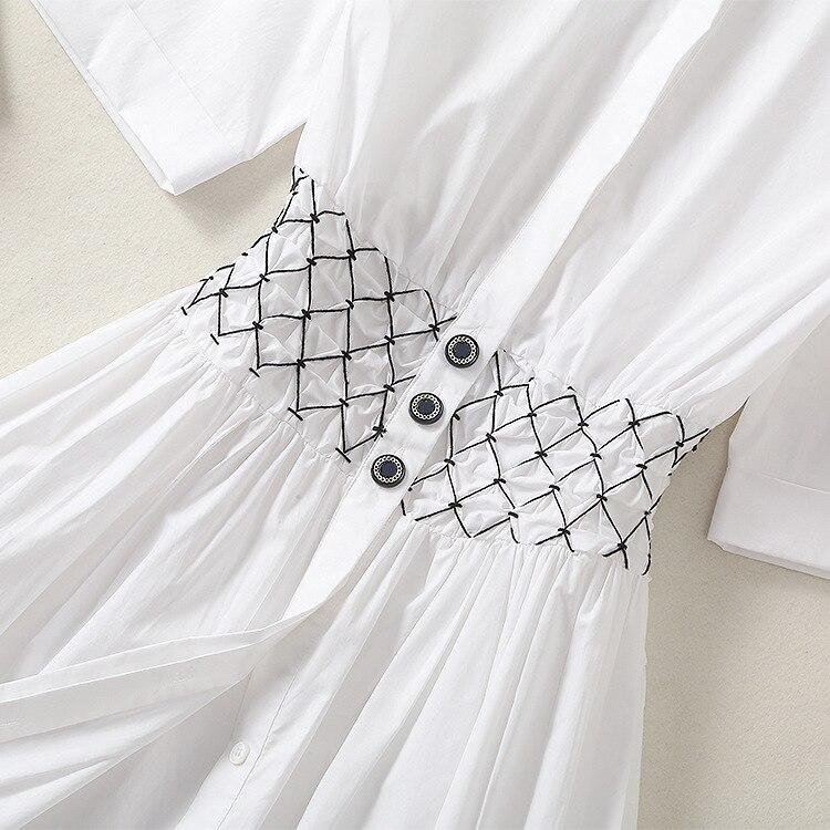 Dames Revers Piste 2019 Coton À Main Taille 100 Chemise Designer Printemps La Courtes Plissée D'été Losange Robes Manches Robe BXpnpfx7q