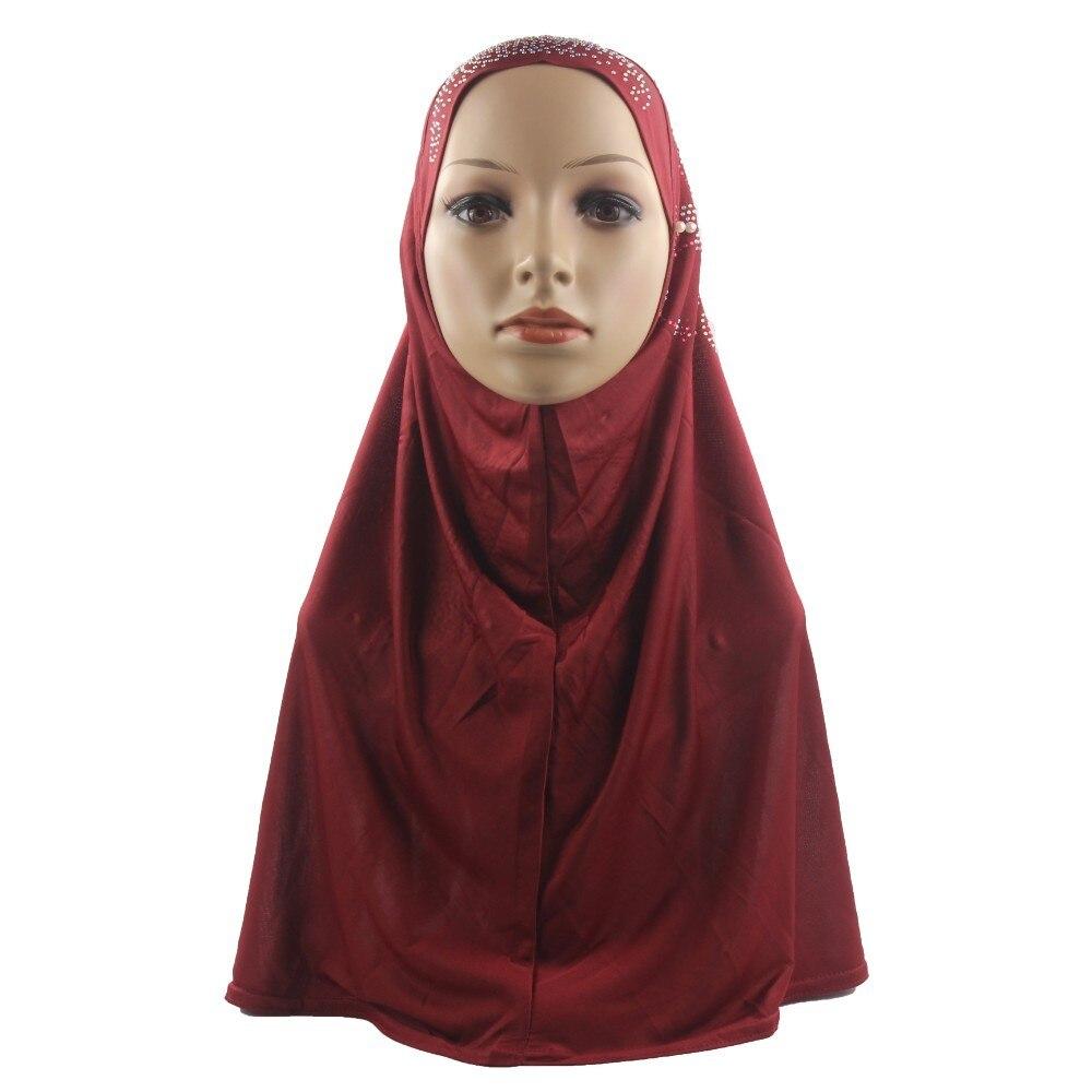 Image 2 - Muslim Women Hijab Islamic Scarf Woman Amira Cap Full Cover  Headwear with Flower Diamond PatternIslamic Clothing