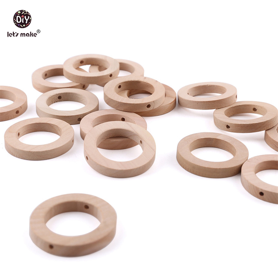 Let's Make Baby Teether 20pc 30mm Wood Rring BPA Free Wooden Teether Baby Products DIY Crafts Accessories Teething Toys Gifts