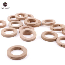 Let's Make Baby Teether 20pc 30mm Wood Rring BPA Free Wooden Teether Ba