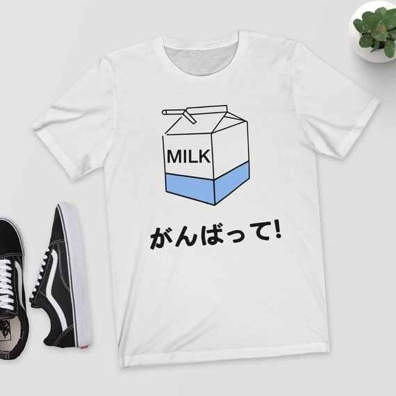 3632f20a2f Japanese Milk T-Shirt Women Cute Anime Tee Causal Tumblr Aesthetic Harajuku  Japanese Shirt Kawaii