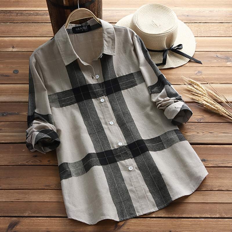 2019 Spring Plaid Tops Women Check   Blouse   Female Button Down   Shirts   Chemise Ladies Office Work Blusas Plus Size Tunic Tops 5XL