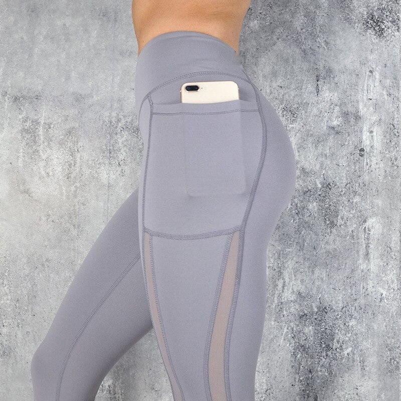 NORMOV Fitness Women   Leggings   New Casual Sexy Pocket High Waist Mesh Stitching   Leggings   Polyester Exercise Slim   Leggings