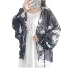 #5006 Summer Cardigan See Through Blouse Plus Size Loose Black Batwing Sleeve Japan Style Kimono Chiffon Femme Harajuku