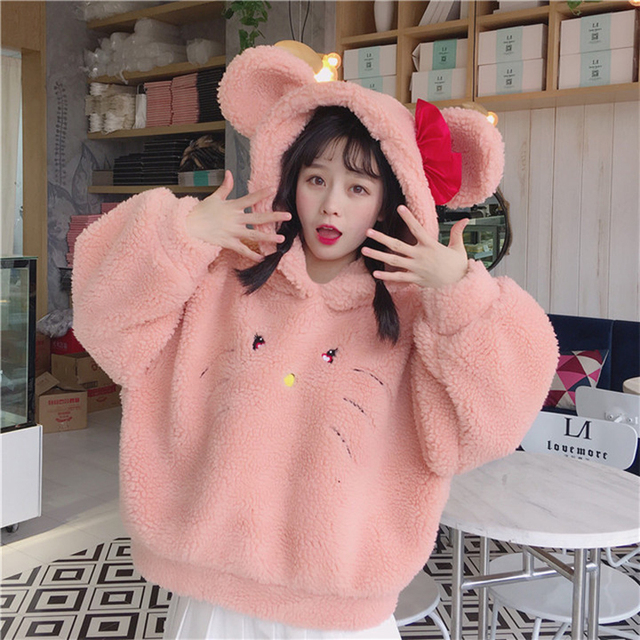 Korean Cute Cartoon Cat Embroidery Thick Lambswool Hooded Sweatshirts Kawaii Women Autumn Winter Loose Outerwear Tops Girls