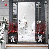 1PC Plane Wall Sticker Christmas Snowman Door Cover Cover Holiday 77x200 cm Christmas Door Covers Decoration#8