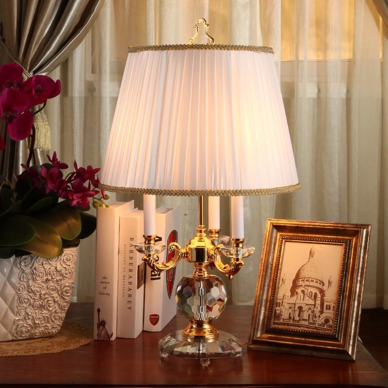 Luxary классический американский Настольный светильник для спальни фойе Европейский кристалл Таблица лампа стекло Tall настольная лампа прикр