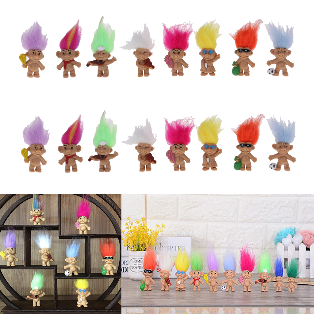 2 Set Of 8 Pieces High Quality Pvc Lucky Troll Dolls Leprocauns Doll Little Guys Toy Model Cake Toppers Party Favors Dollhouse Lovely Luster
