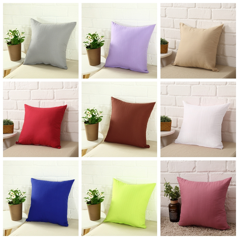 Hot Solid Hot Pillowcase Simple Plain Decorative Cushion Cover Home Decoration Products Sofa Car Chair Pillow Case Company Gifts image