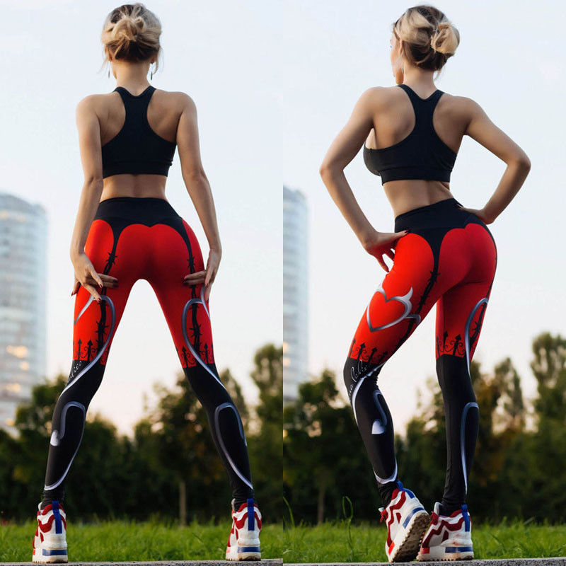 Women Yoga Fitness Running Leggings Gym Stretch Sports High Waist Pants Trousers