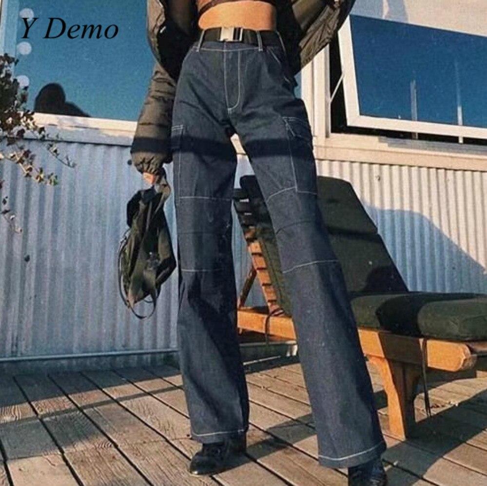 High Street Basic Woman High Waist Trousers Belt Loose Wide Leg Pants