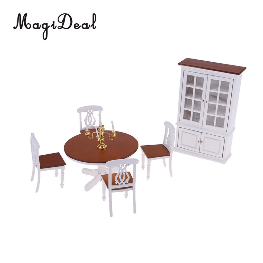 Style européen 1/12 chaise de Table en bois armoire à vin meubles pour poupées maison salle à manger décor accessoires