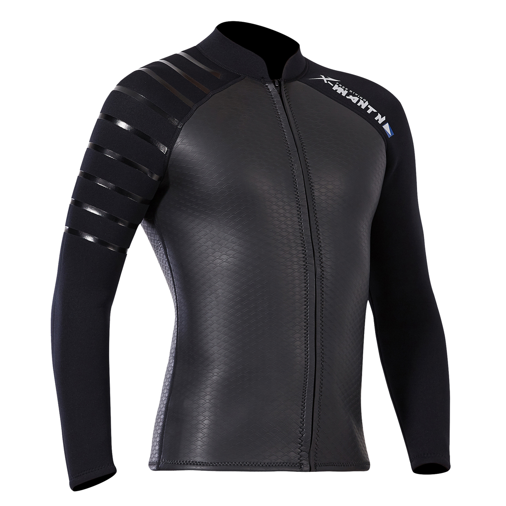 Wetsuit Top Men Premium 3mm Neoprene Diving Suit Jacket Long Stretchy Sleeves Dive Surfing Snorkeling Wet Suit Top in Wetsuit from Sports Entertainment