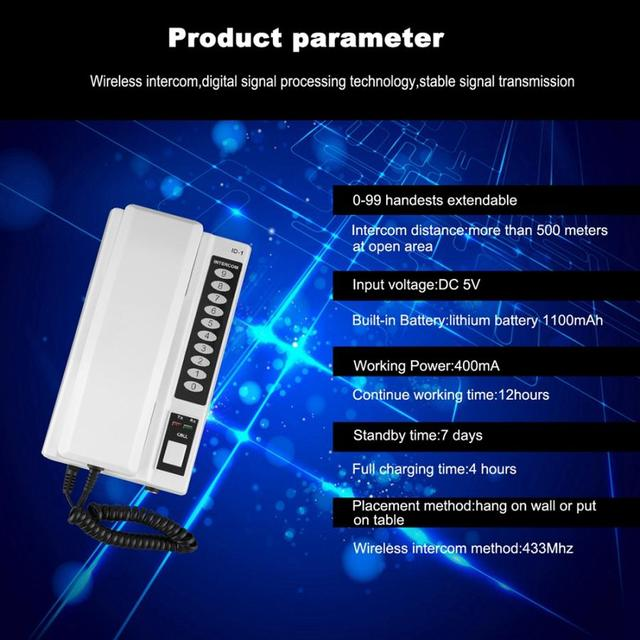 2019 Hot Wireless Intercom System / Inter-phone Handsets Extendable for Warehouse, Office, Manson home