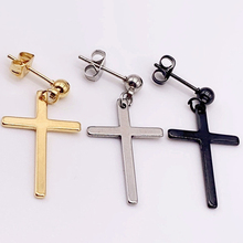1pc Cross Earring Men Hipster Personality Street Titanium Steel Earrings Hip Hop Punk Drop Black Silver Gold New Hotsale