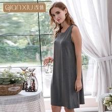 0a2f836bc4 QIANXIU summer woman sexy sleepwear round neck sleeveless Modal nightgown  female