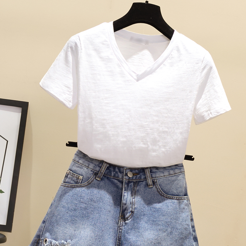 New Banulin 100 Cotton V Neck Harajuku Tshirt 2019 Summer Women 39 s Short Sleeve Solid Sweet Tops amp Tees Fashion Casual T Shirt in T Shirts from Women 39 s Clothing