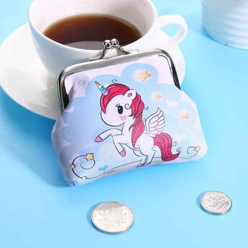 Женский мини-кошелек с единорогом, держатель для карт чехол, кошелек для монет, клатч, сумка для мелочи, Детские кошельки, сменный держатель, carteira monederos