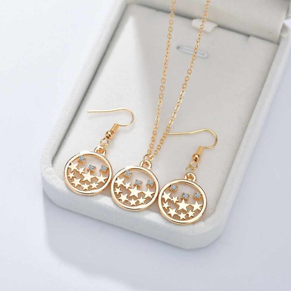 NEW Women Trendy Earrings&Necklace Jewelry Set Round With Stars And Rhinestone Female Jewelry Women Gold Wedding Jewelry Sets
