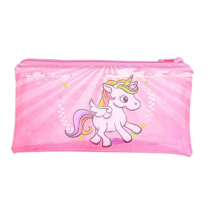 Rainbow Unicorn Pencil Case Kawaii Pink PVC Pencilcase Large Capacity School Bts Pencil Bag Creative Stationery School Supplies