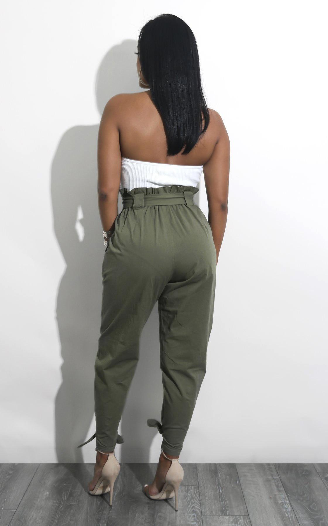 Di Brown Delle Modo Alta Donne Allentati Lunghi Matita Dell'esercito Vita Casual Harlan Pantaloni A Fasciatura verde Hxnn5rdWX