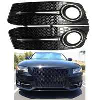 Pair Front Bumper Gloss Black Fog Light Cover Grills for Audi A4 B8 for VW 2009 2010 2011