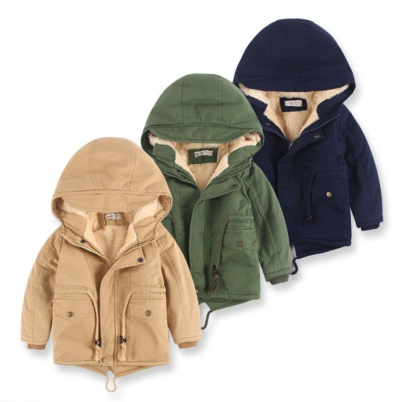 Winter Jackets Cashmere Solid Thick Warm Snow Wear Jackets For Boys Hooded Casual Pocket Zipper Windbreaker Kids Outerwear Coats