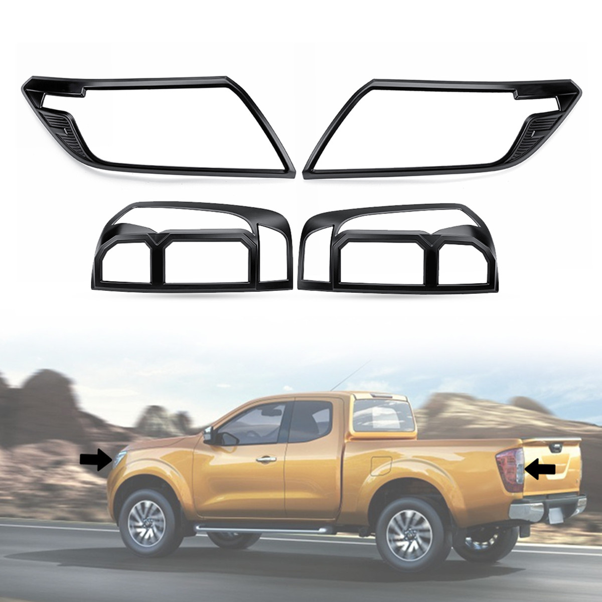 Black Front Rear Seat Covers for Nissan Navara NP300 Double Cab 2016 on