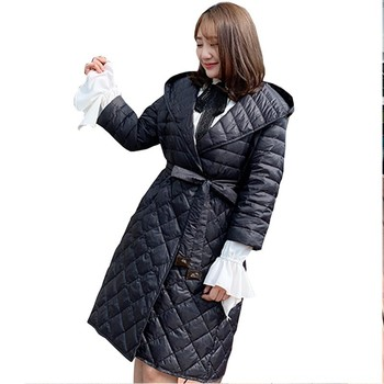 Winter Jacket Coat Women Plus Size Loose Down Jacket Fashion Hooded Long White Duck Down Parka Warm Fat MM Waist Feather Jacket