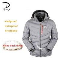 Для мужчин зимние белая куртка пуховик теплый ветрозащитный дышащий Спорт на открытом воздухе Альпинизм костюмы Рыбалка одежда